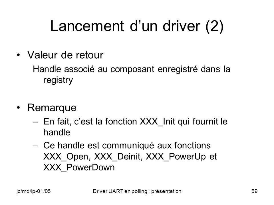 Lancement d'un driver (2)