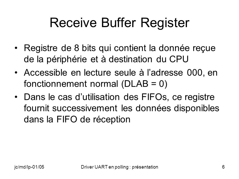 Receive Buffer Register