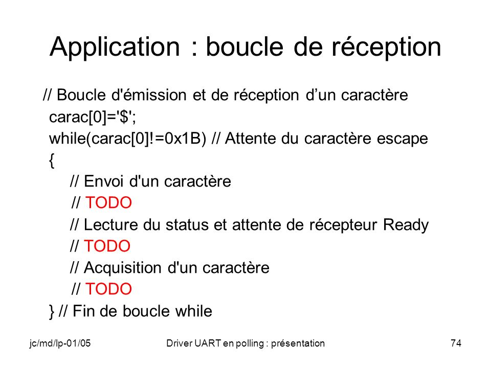 Application : boucle de réception