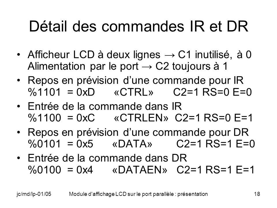 Détail des commandes IR et DR