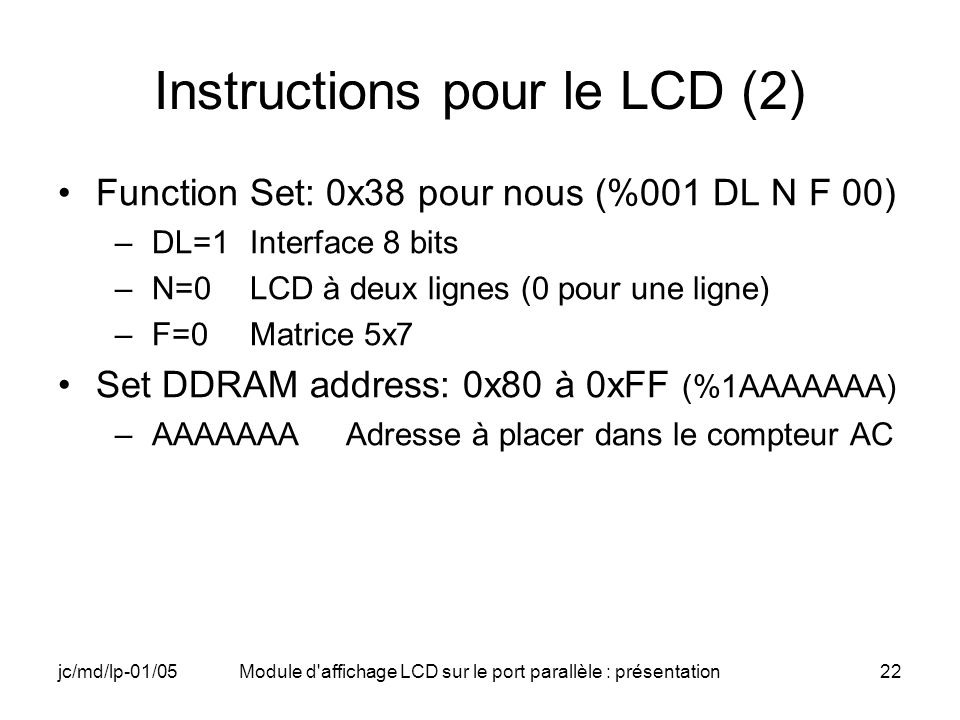 Instructions pour le LCD (2)