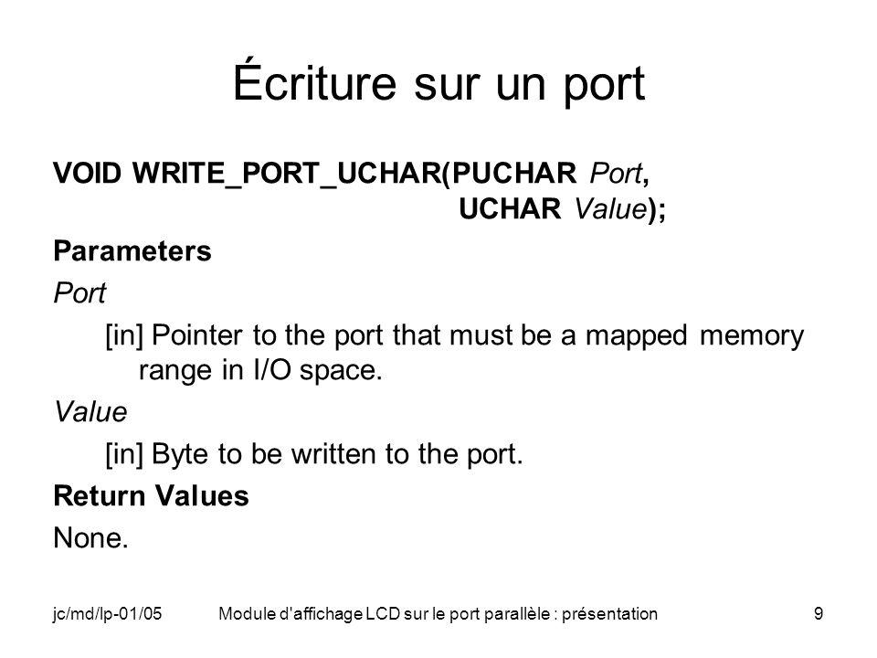 Module d affichage LCD sur le port parallèle : présentation