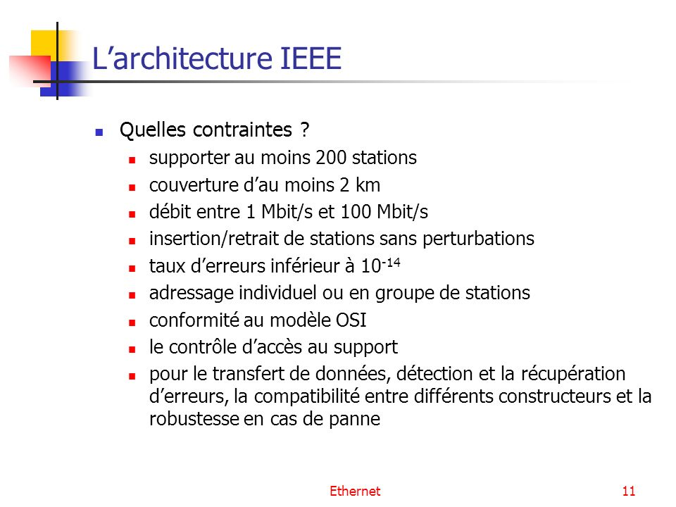 L'architecture IEEE Quelles contraintes