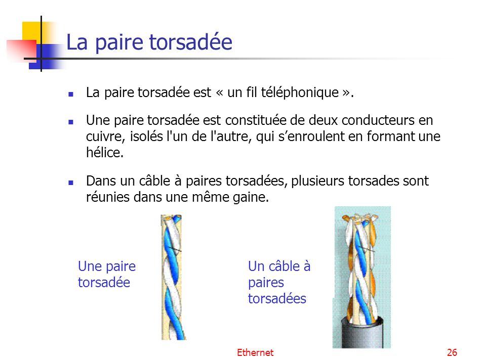La paire torsadée La paire torsadée est « un fil téléphonique ».
