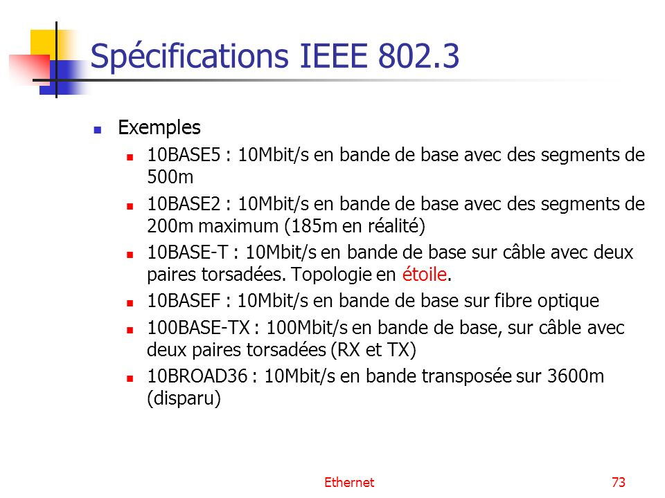 Spécifications IEEE 802.3 Exemples