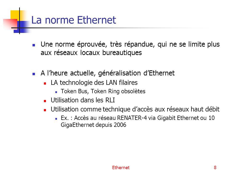 La norme Ethernet Une norme éprouvée, très répandue, qui ne se limite plus aux réseaux locaux bureautiques.