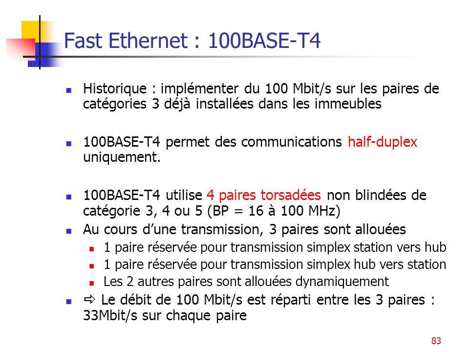Fast Ethernet : 100BASE-T4 Historique : implémenter du 100 Mbit/s sur les paires de catégories 3 déjà installées dans les immeubles.