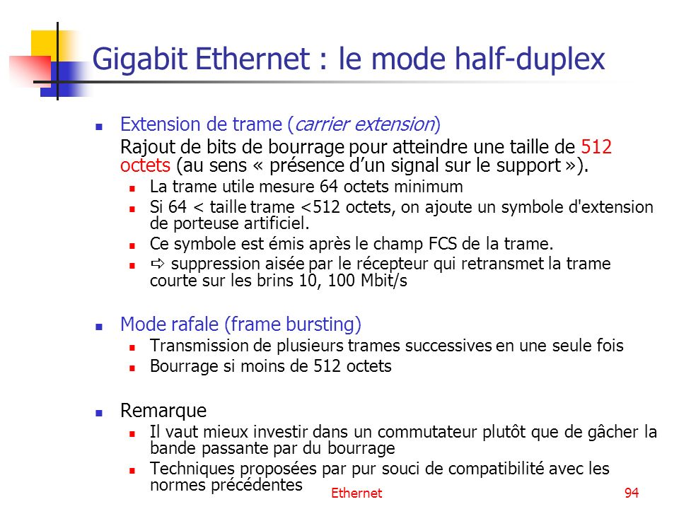 Gigabit Ethernet : le mode half-duplex