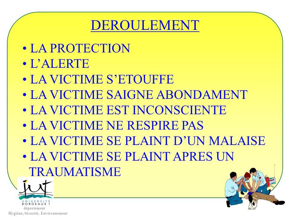 DEROULEMENT LA PROTECTION L'ALERTE LA VICTIME S'ETOUFFE