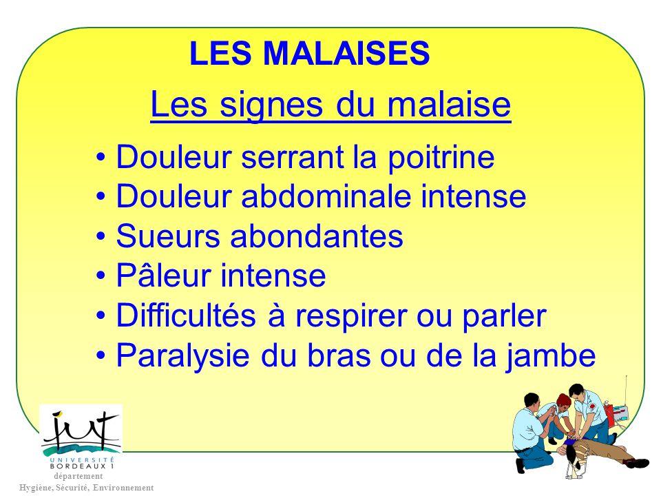 Les signes du malaise LES MALAISES Douleur serrant la poitrine