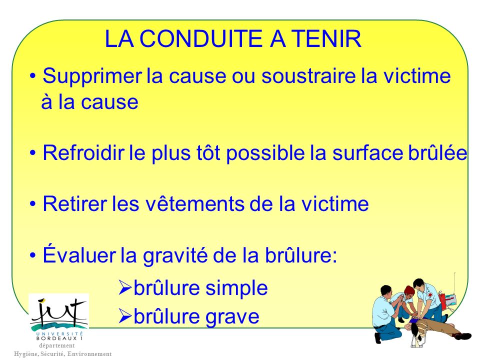 LA CONDUITE A TENIR Supprimer la cause ou soustraire la victime