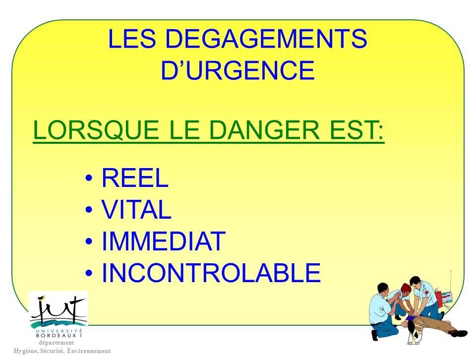 LES DEGAGEMENTS D'URGENCE LORSQUE LE DANGER EST: REEL VITAL IMMEDIAT INCONTROLABLE