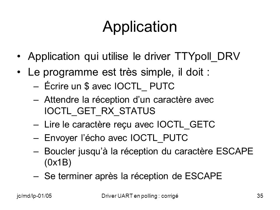 Driver UART en polling : corrigé