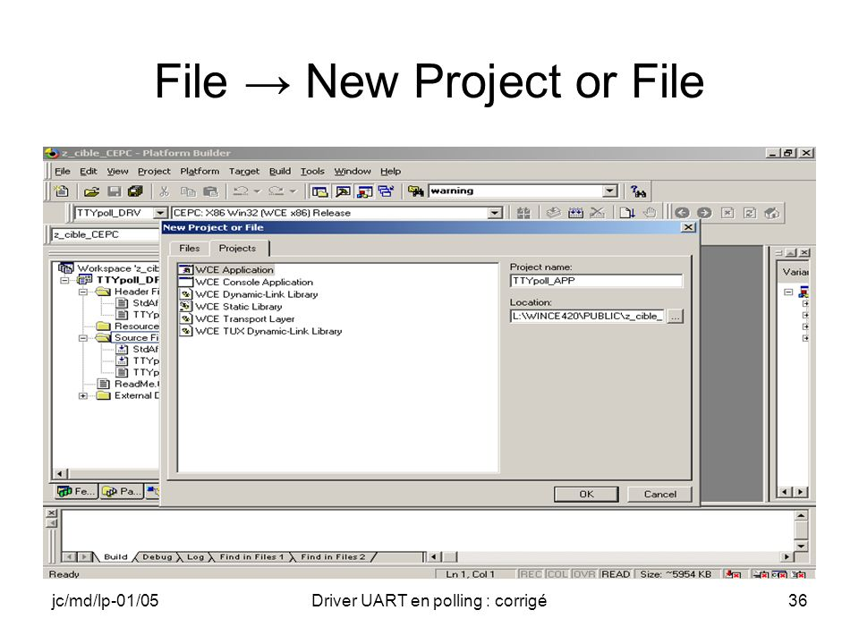 File → New Project or File