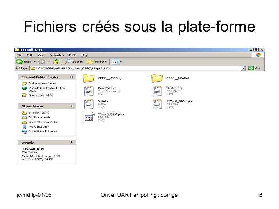 Fichiers créés sous la plate-forme