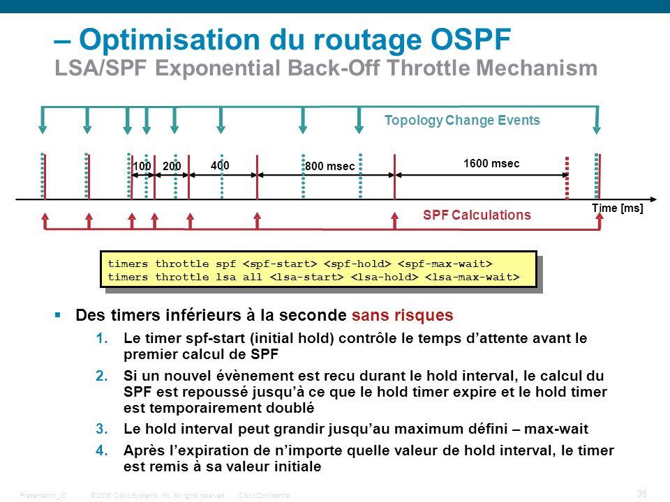 – Optimisation du routage OSPF LSA/SPF Exponential Back-Off Throttle Mechanism