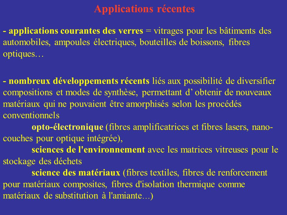 Applications récentes