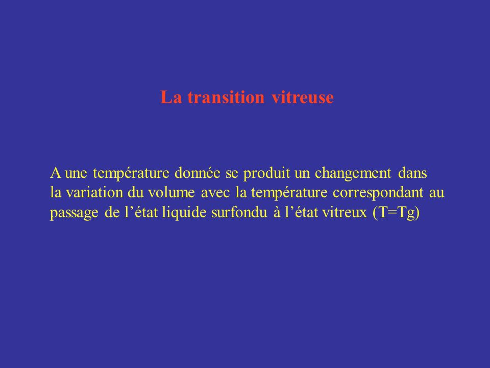 La transition vitreuse