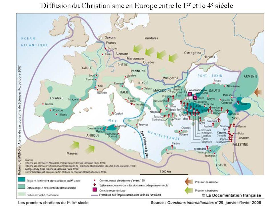 Diffusion du Christianisme en Europe entre le 1er et le 4e siècle