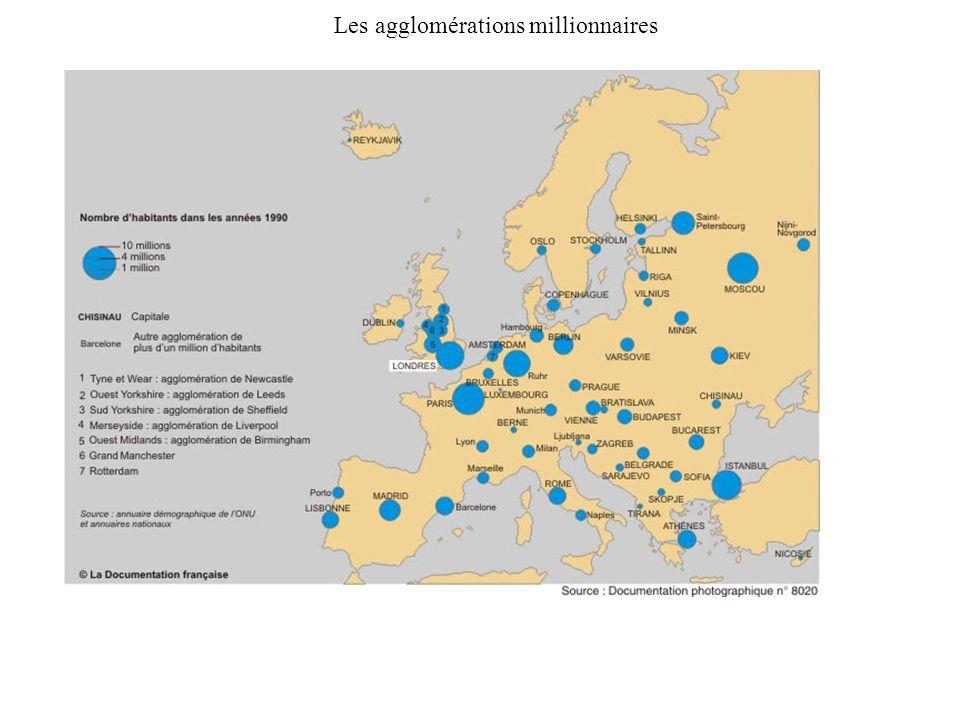 Les agglomérations millionnaires