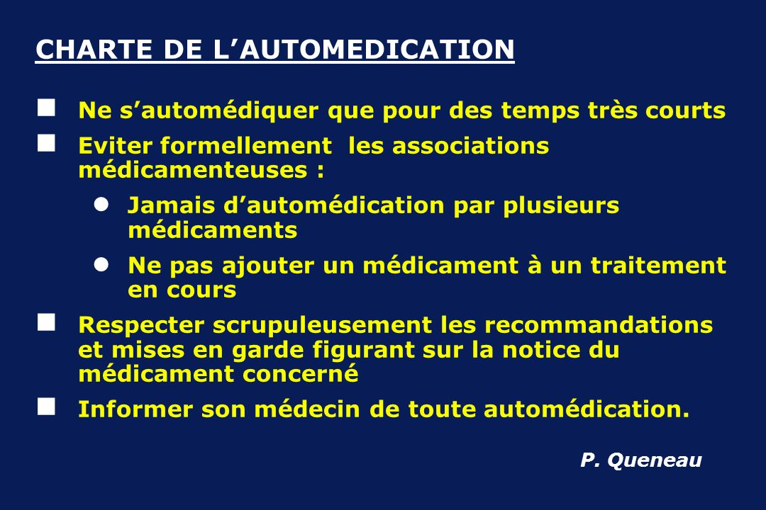 CHARTE DE L' AUTOMEDICATION