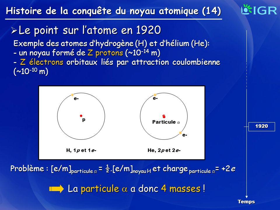 Le point sur l'atome en 1920 La particule  a donc 4 masses !
