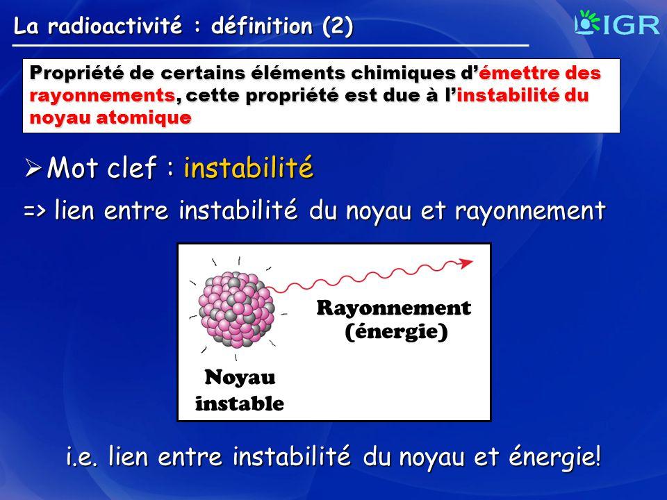 i.e. lien entre instabilité du noyau et énergie!