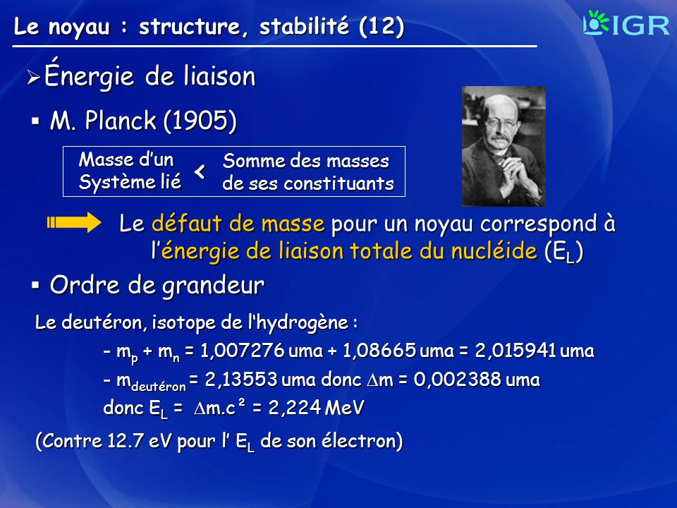 < M. Planck (1905) Ordre de grandeur Énergie de liaison