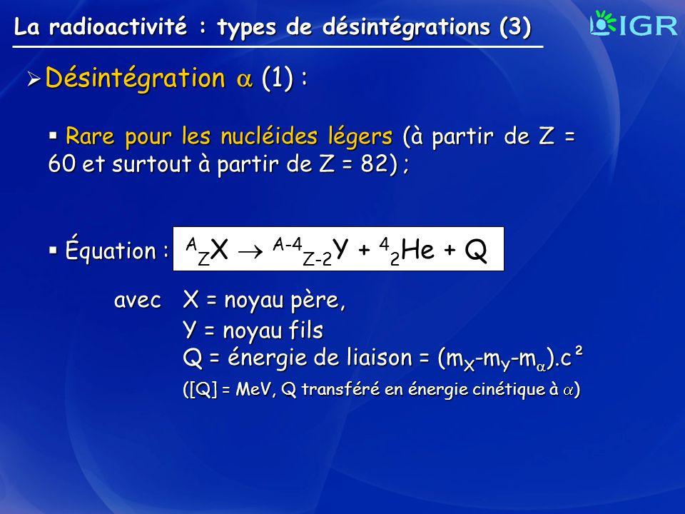 Désintégration  (1) : La radioactivité : types de désintégrations (3)
