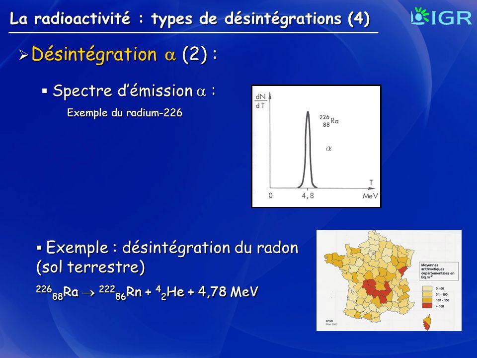 Désintégration  (2) : La radioactivité : types de désintégrations (4)