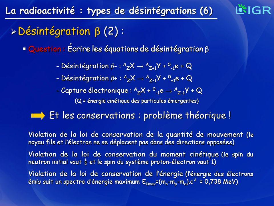 (Q = énergie cinétique des particules émergentes)