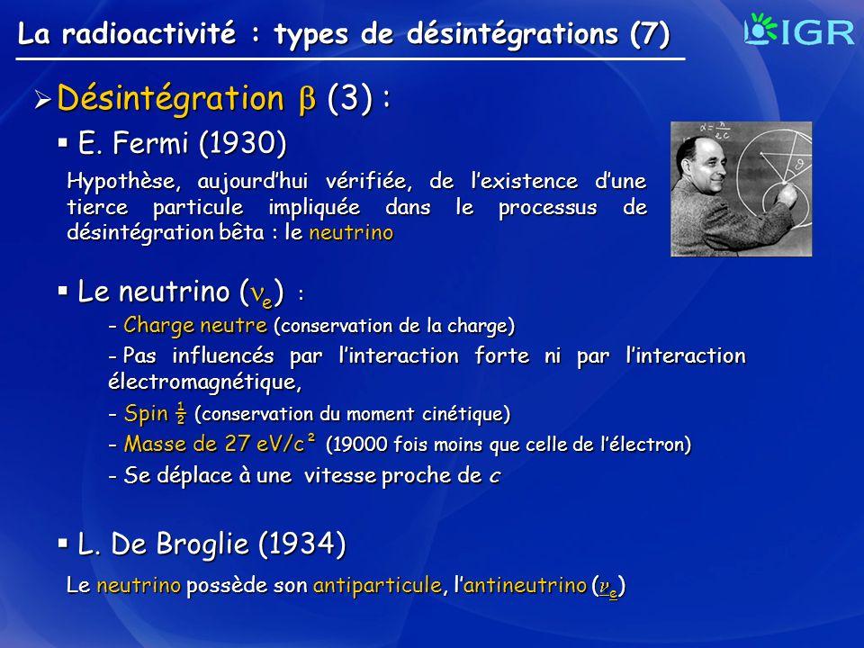 Désintégration  (3) : La radioactivité : types de désintégrations (7)