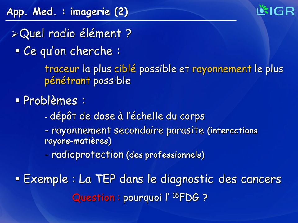 Exemple : La TEP dans le diagnostic des cancers