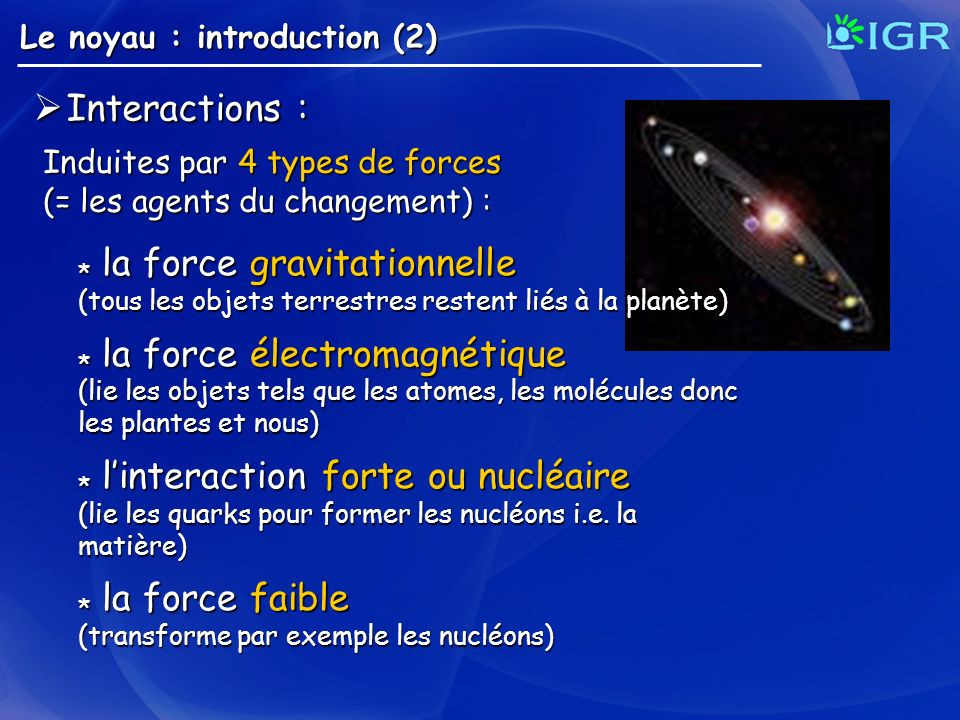 Interactions : * la force gravitationnelle