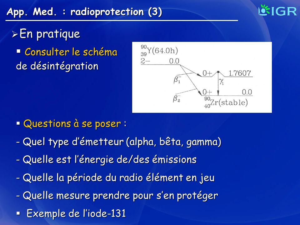 En pratique Consulter le schéma App. Med. : radioprotection (3)