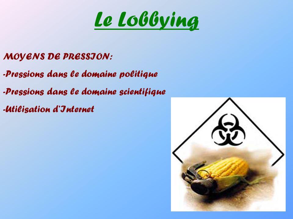 Le Lobbying MOYENS DE PRESSION: -Pressions dans le domaine politique
