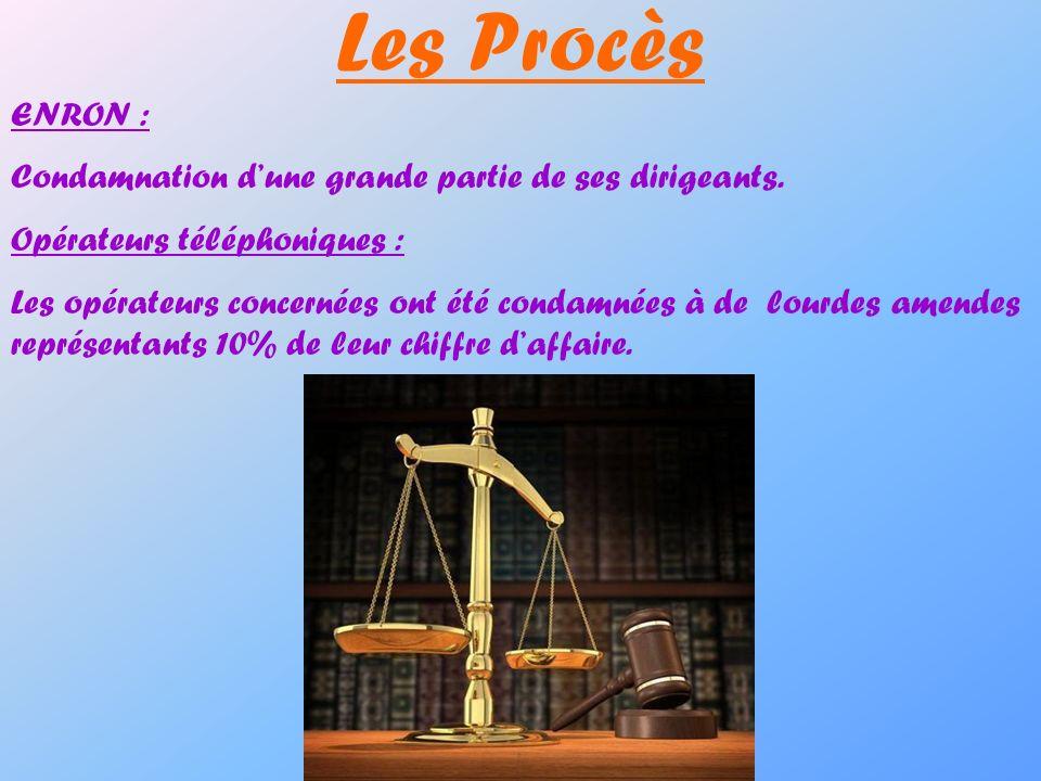 Les Procès ENRON : Condamnation d'une grande partie de ses dirigeants.