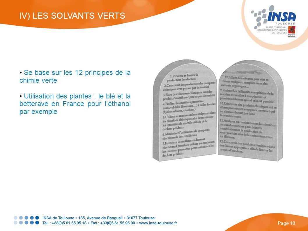 IV) LES SOLVANTS VERTS Se base sur les 12 principes de la chimie verte