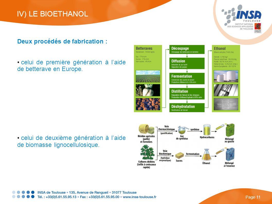 IV) LE BIOETHANOL Deux procédés de fabrication :