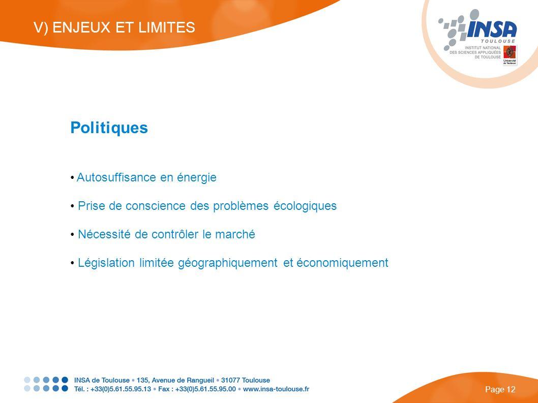 Politiques V) ENJEUX ET LIMITES Autosuffisance en énergie