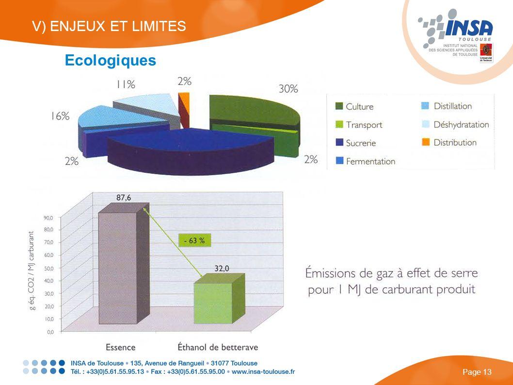 V) ENJEUX ET LIMITES Ecologiques Page 13