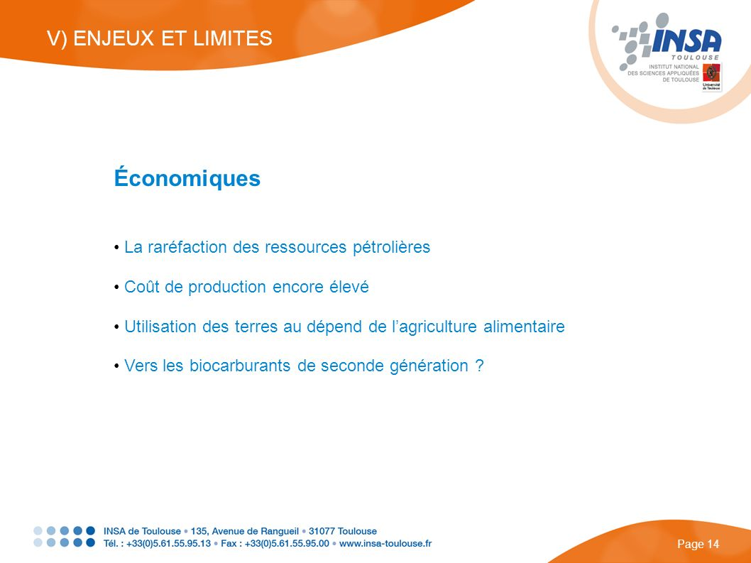 Économiques V) ENJEUX ET LIMITES