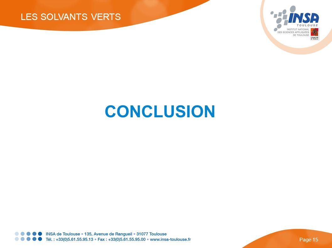LES SOLVANTS VERTS CONCLUSION Page 15