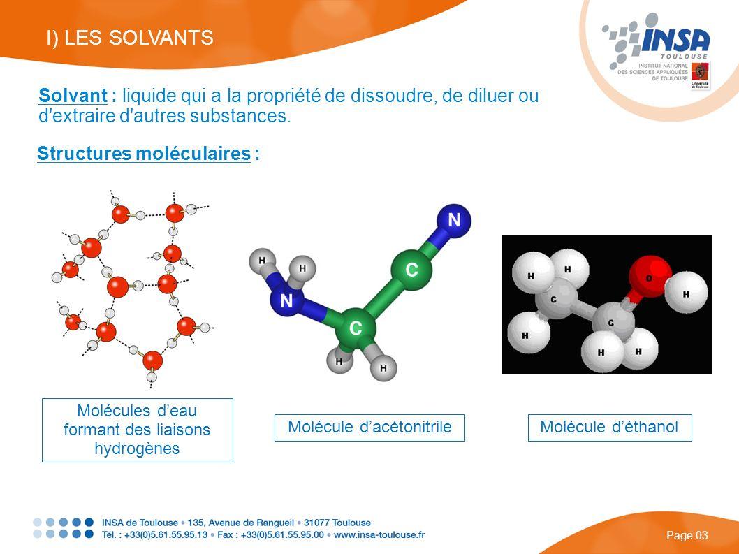 I) LES SOLVANTS Solvant : liquide qui a la propriété de dissoudre, de diluer ou d extraire d autres substances.