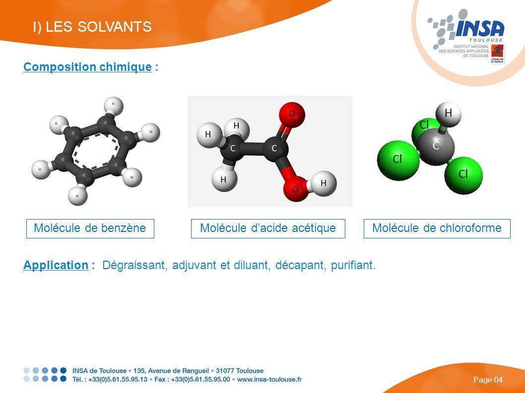 I) LES SOLVANTS Composition chimique : Molécule de benzène