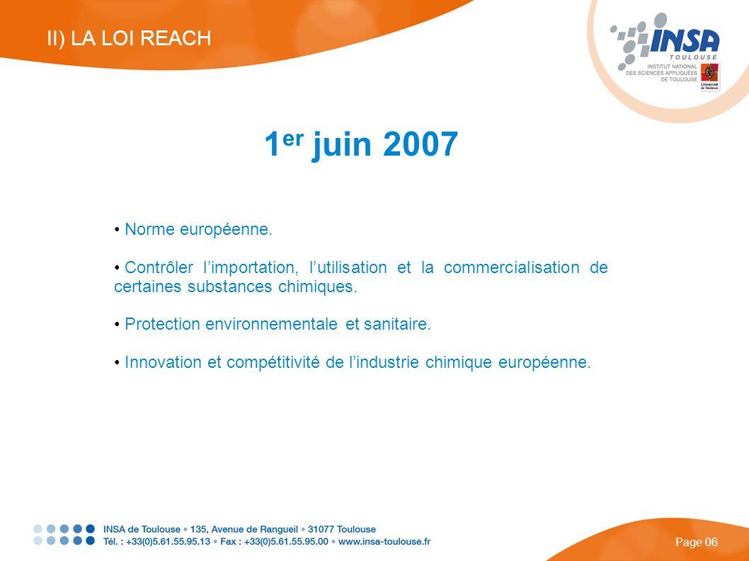 1er juin 2007 II) LA LOI REACH Norme européenne.