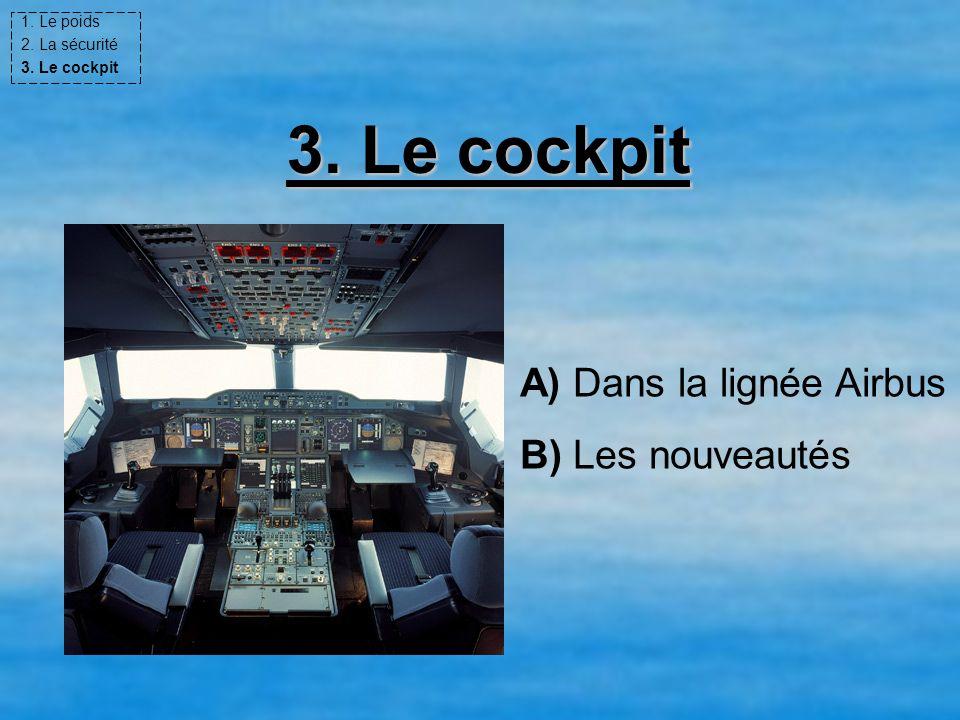 3. Le cockpit A) Dans la lignée Airbus B) Les nouveautés 1. Le poids