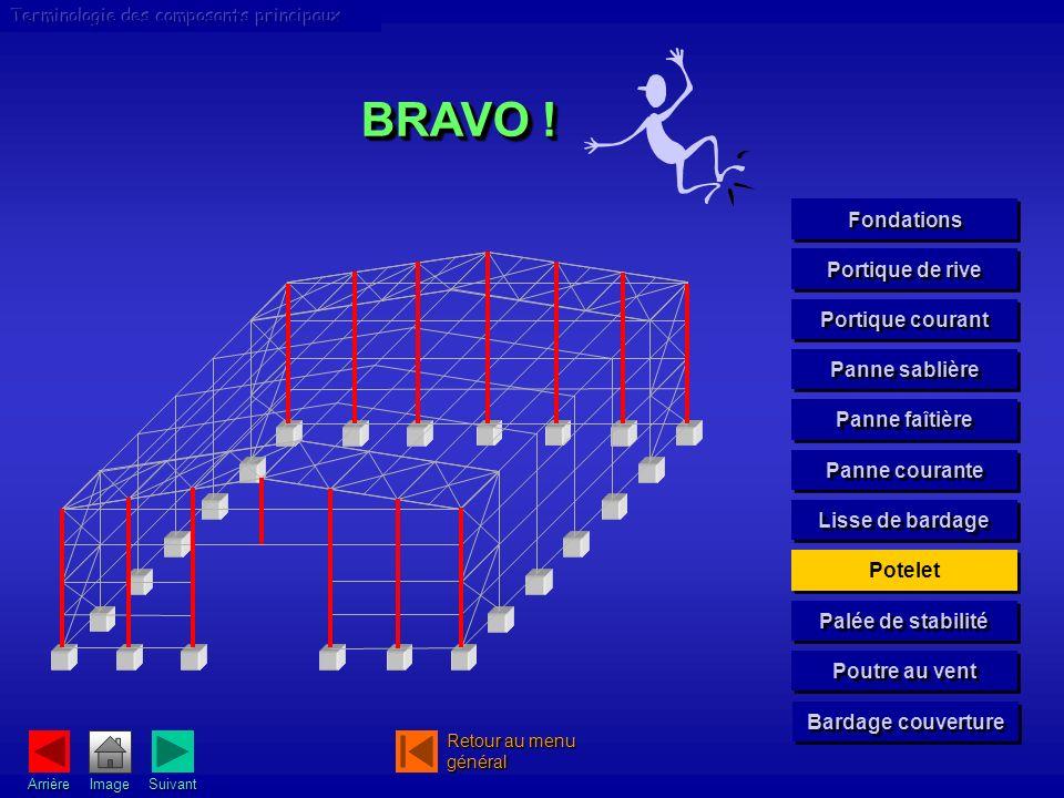 BRAVO ! Fondations Portique de rive Portique courant Panne sablière