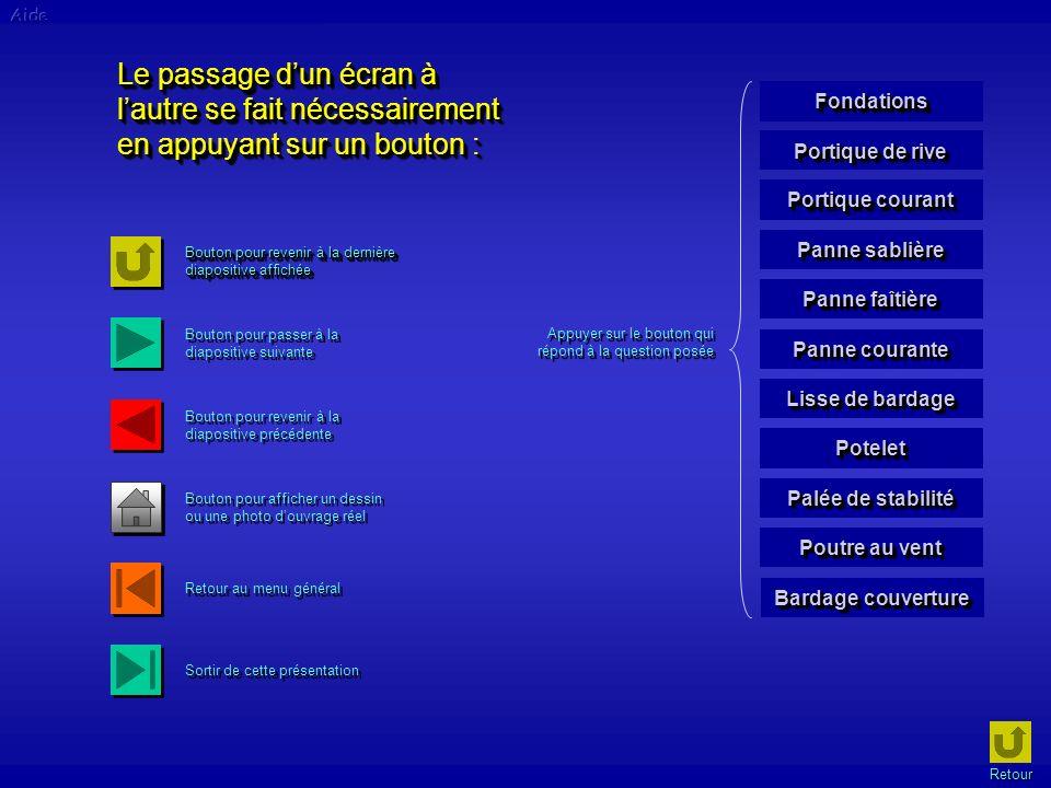 Aide Le passage d'un écran à l'autre se fait nécessairement en appuyant sur un bouton : Fondations.
