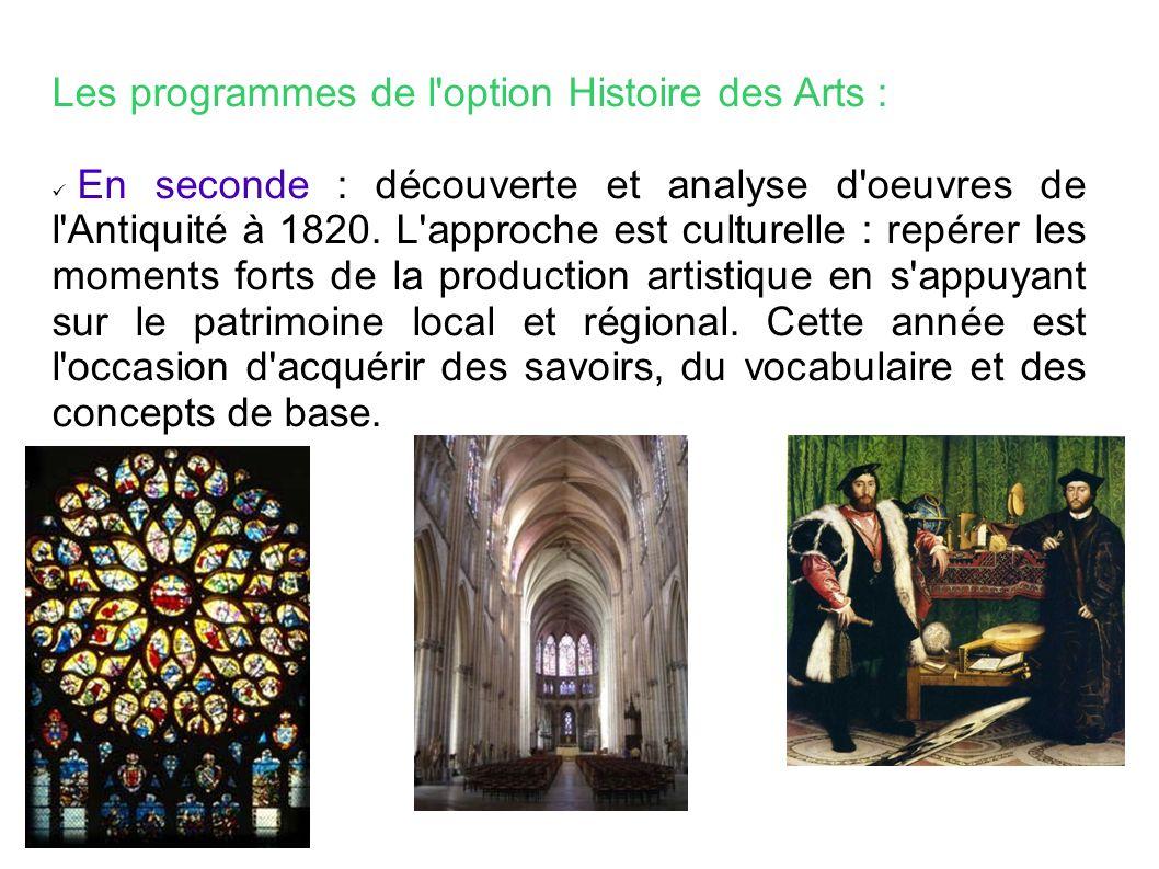 Les programmes de l option Histoire des Arts :
